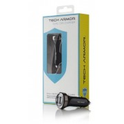 Tech Armor Dual USB Car Charger 3.1 Amps, 15 Watts, 5V DC (Black) (Original)