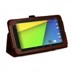 PU Folio Leather Case for Nexus 7 FHD - Brown