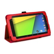 PU Folio Leather Case for Nexus 7 FHD - Red