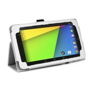 PU Folio Leather Case for Nexus 7 FHD - White